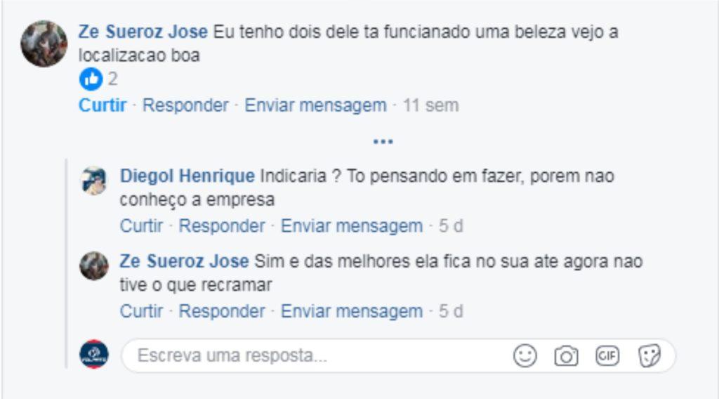 Cliente José Sueroz deixando comentando da qualidade do Rastreador Volpato